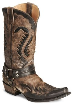 Stetson Brown Harness Cowboy Boots - Snip Toe, , hi-res