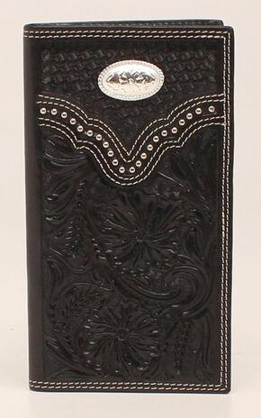 Nocona Floral Oval Concho Rodeo Wallet, Black, hi-res