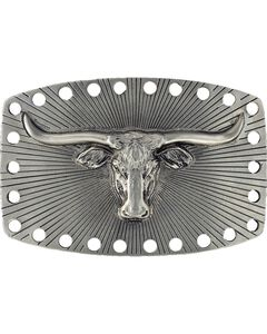 Montana Silversmiths Steer Head Perforated Buckle, , hi-res