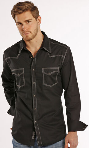 Rock and Roll Cowboy Black Dobby Triple Stitch Western Snap Shirt , Black, hi-res