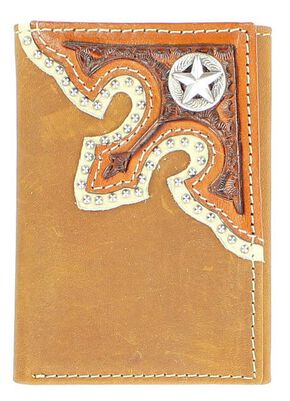 Nocona Corner Overlay with Star Concho Tri-Fold Wallet, Brown, hi-res