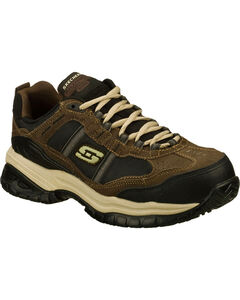 Skechers Men's Brown Soft Stride Grinnell Slip Resistant Work Shoes - Comp Toe, , hi-res