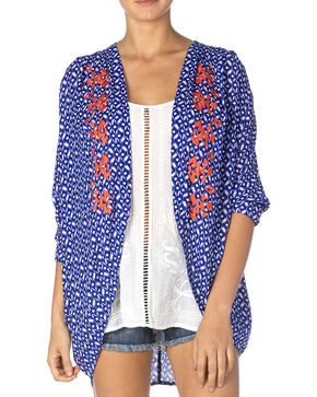 Miss Me Women's Blue & Coral Sheer Kimono, Blue, hi-res