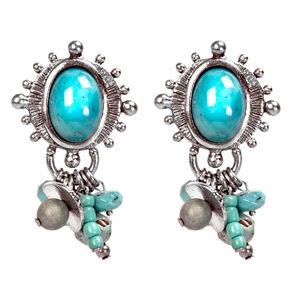 Treska Women's Turquoise Metal/Stone Top, Cluster Drop Earrings, Turquoise, hi-res