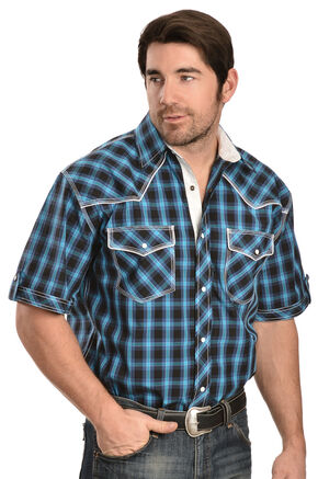 Red Ranch Black, Blue and Turquoise Plaid Short Sleeve Western Shirt, Blue, hi-res