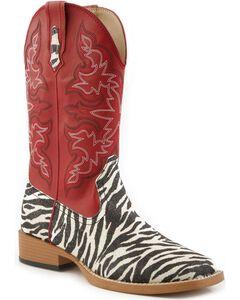 Roper Glittery Zebra Print Cowgirl Boots - Square Toe, , hi-res