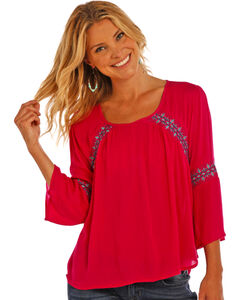 Rock & Roll Cowgirl Women's Hot Pink Peasant Blouse with Bell Sleeves, Hot Pink, hi-res