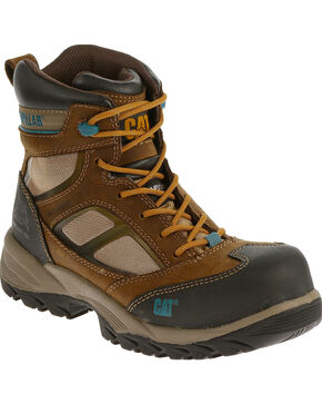 "Caterpillar Women's Shaman 6"" Waterproof Work Boots - Composite Toe , Brown, hi-res"