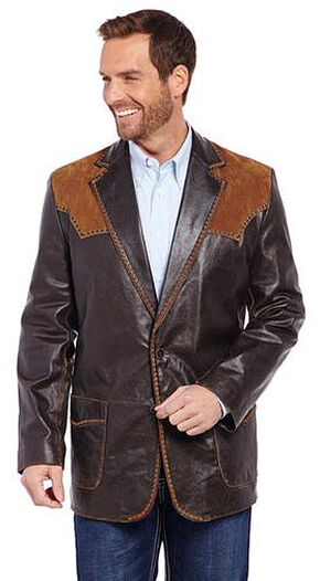 Cripple Creek Suede and Stitched Yoke Western Blazer, Brown, hi-res