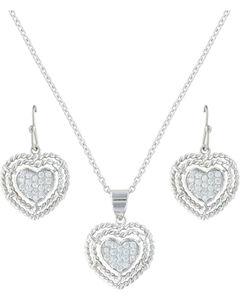 Montana Silversmiths Women's Roped My Heart Jewelry Set , , hi-res