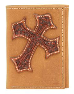 Nocona Tooled Cross Overlay Tri-fold Wallet, , hi-res