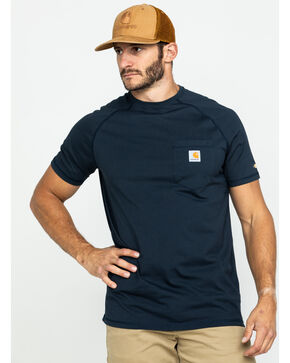 Carhartt Force Short Sleeve Work Shirt, Navy, hi-res