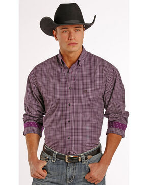 Panhandle Slim Men's Purple Check Western Shirt, Maroon, hi-res