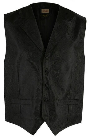 Cody James Men's Paisley Print Western Vest, Black, hi-res