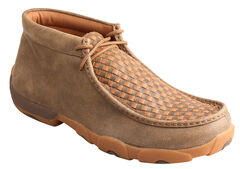 Twisted X Men's Brown and Tan Checkerboard Driving Mocs, , hi-res