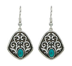Montana Silversmiths Antique Filigree & Turquoise Earrings, , hi-res