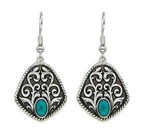 Montana Silversmiths Antique Filigree & Turquoise Earrings, Silver, hi-res