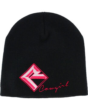 Rock & Roll Cowgirl Women's Embroidered Beanie, Black, hi-res