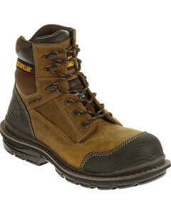 "Caterpillar Men's Brown Fabricate 6"" Tough Waterproof Work Boots - Soft Round Toe , , hi-res"