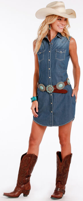 Panhandle Slim Women's Indigo Sleeveless Rodeo Chambray Dress , Indigo, hi-res