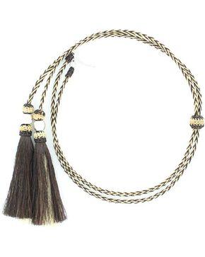 Black & Blonde Braided Horsehair Tassels Stampede String, Natural, hi-res