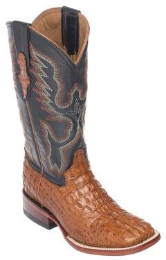 Ferrini Cognac Hornback Caiman Cowgirl Boots - Wide Square Toe, , hi-res