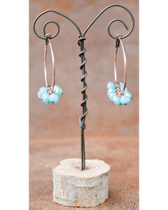 West & Co. Burnished Copper Hoop with Dangling Turquoise Bead Earrings, , hi-res