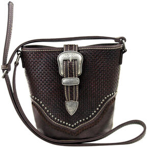 Montana West Trinity Ranch Basket Weave Buckle Design Handbag, Brown, hi-res
