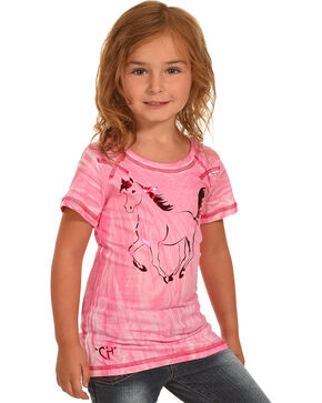 Cowboy Hardware Girls' Metallic Horse Tie Dye T-Shirt , Pink, hi-res