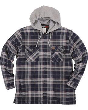 Wrangler Riggs Workwear Men's Navy Hooded Flannel Jacket , Navy, hi-res