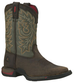 Rocky Youth Boys' Long Range Tan and Green Western Boots - Square Toe, , hi-res