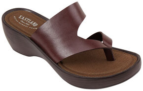Eastland Women's Brown Laurel Wedge Thong Sandals, Chili, hi-res