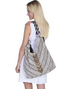 "Scully Cantina Collection Black and White ""V"" Cotton Handbag, , hi-res"