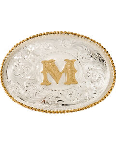 "Montana Silversmiths Initial ""M"" Buckle, Silver, hi-res"