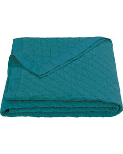 HiEnd Accents Diamond Pattern Turquoise Linen Full/Queen Quilt, , hi-res