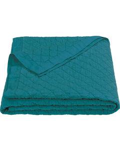HiEnd Accents Diamond Pattern Turquoise Linen King Quilt, , hi-res