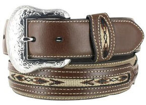 Nocona Men's Rough Out Overlay Western Belt, Brown, hi-res