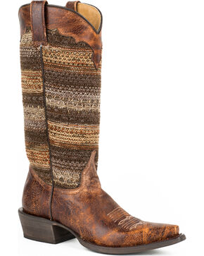 Roper Brown Vintage Distressed Sweater Cowgirl Boots - Snip Toe, Brown, hi-res