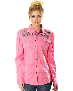 Grace in LA Women's Pink Embroidered Button Down Shirt , , hi-res