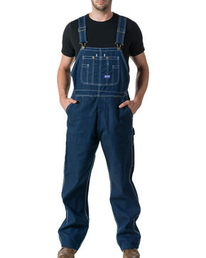 Walls Men's Big Smith Rigid Denim Bib Overalls , Indigo, hi-res
