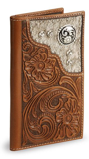 Nocona Hair on Hide Inset Tooled Leather Checkbook Wallet, Brown, hi-res