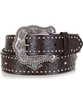 Shyanne Women's Brown Filigree Leather Belt , Brown, hi-res