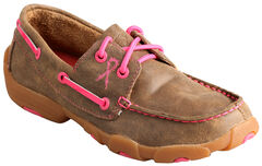 Twisted X Kid's Brown and Pink Driving Mocs , , hi-res