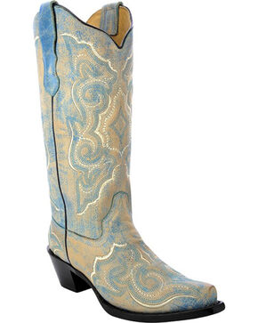Corral Women's Distressed Leather Embroidered Cowgirl Boots - Snip Toe , Turquoise, hi-res