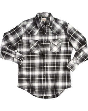 Ely Cattleman Men's Black Brawny Flannel Shirt - Tall , Black, hi-res