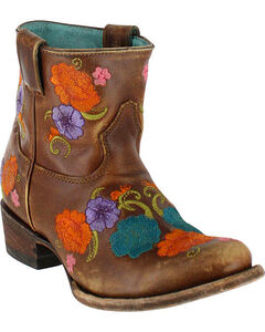Corral Women's Shorty Floral Embroidered Western Boots - Round Toe, , hi-res