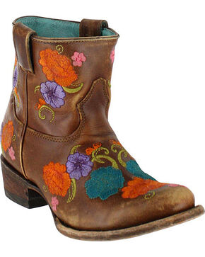 Corral Women's Shorty Floral Embroidered Western Boots - Round Toe, Brown, hi-res