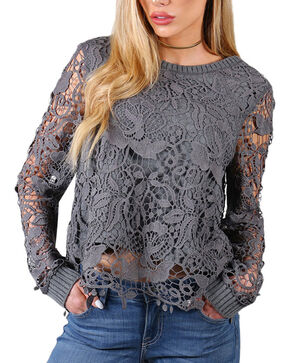 Shyanne Lace Overlay Long Sleeve Blouse, Charcoal Grey, hi-res