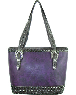 Savana Women's Purple Concealed Carry Tote Bag with Croco Trim, Purple, hi-res