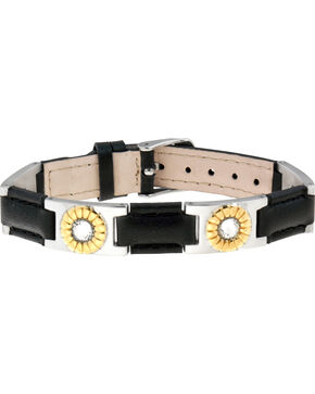 Sabona of London Black Leather Gem Duet Magnetic Bracelet, Multi, hi-res